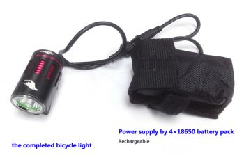 Hi-Tech LED  Bike light CREE XM-L T6 1800lm incl. 4800mAh battery, silicon rings and charger